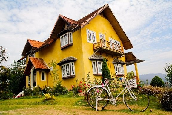 beautiful home and a bicycle